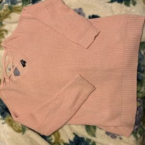 Light pink boyfriend sweater with strappy detail